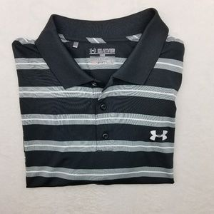 Under Armour Black Gray Golf Polo Shirt XL